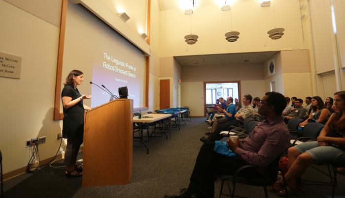 Sarah gives a talk about robot directed speech