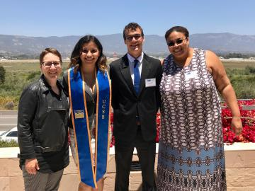 McNair Scholars Victoria Melgarejo (Language, Culture, & Society and Spanish) and Steven Castro (Linguistics), with Linguistics faculty members Mary Bucholtz and Anne Charity Hudley