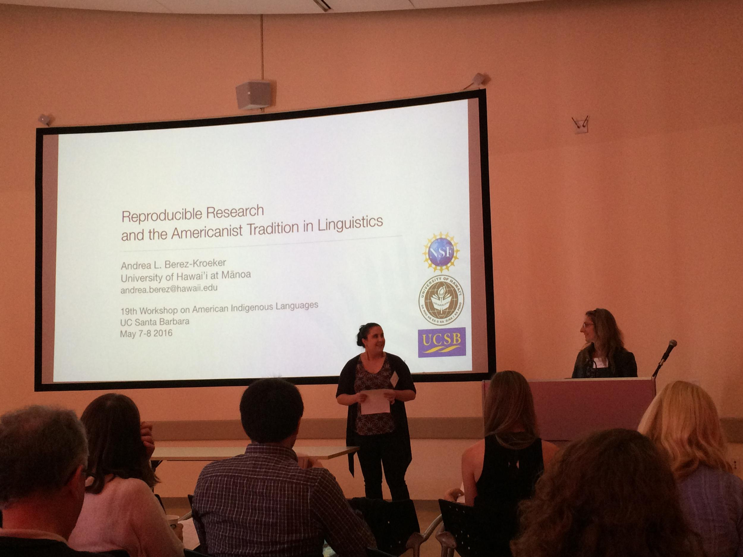 Ucsb linguistics hosts 21st annual workshop on american indigenous ucsb ling grad student megan lukaniec introducing alumna andrea berez kroeker keynote speaker at thecheapjerseys Choice Image