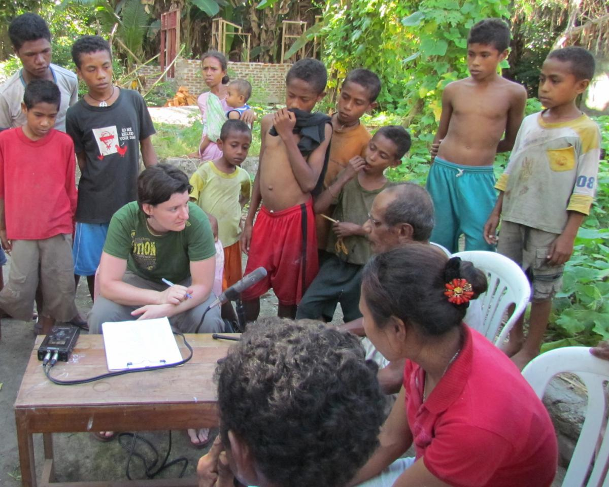 Visiting Assistant Professor Laura Robinson working with a community in Papua New Guinea
