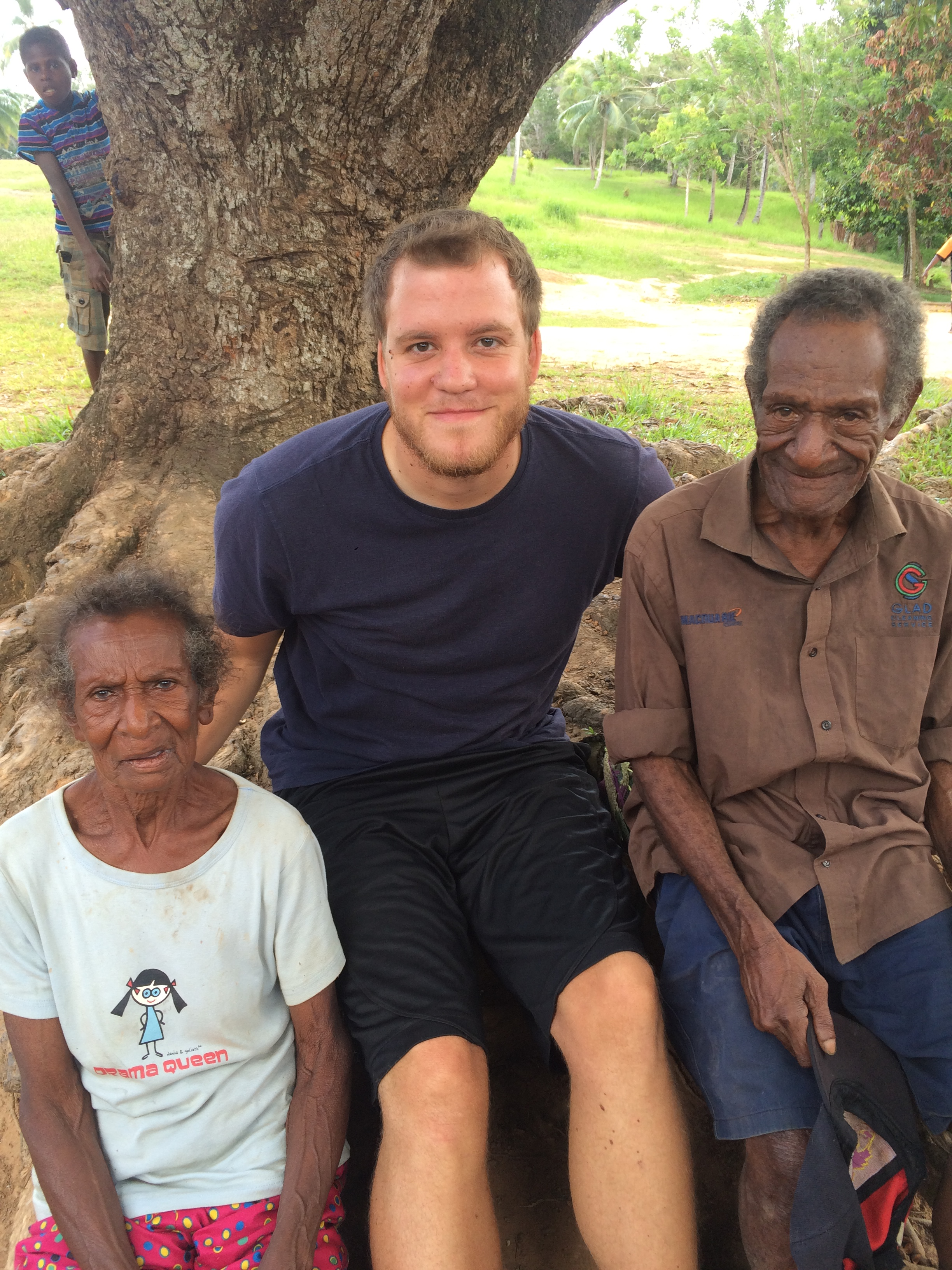 Graduate student Phillip Rogers with Abom speakers Papir Tapoka and Wasari Samane in Tapila Village, Western Province, PNG